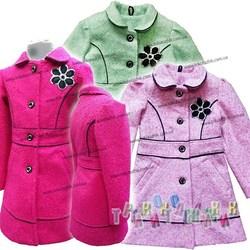 Пальто для девочки, с цветком. Сезон Весна-Осень.