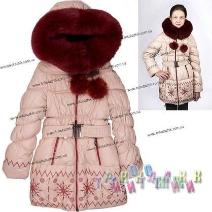 Пальто для девочки м. Е-230. Сезон Зима.