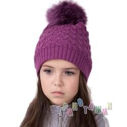 Вязанная шапка с меховым помпоном для девочек (м.12А)