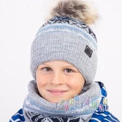 Комплект шапка и хомут для мальчика на зиму (м.1393)