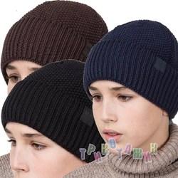 Зимняя вязаная шапка для мальчика подростка на флисе (м.AL17036)