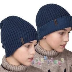 Вязаная удлиненная двусторонняя шапка на флисе для мальчика (м.AL17035)