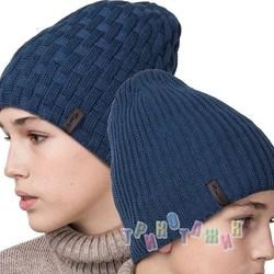 Зимняя вязаная шапка для мальчика подростка удлиненного кроя на 2 стороны (м.AL17027)