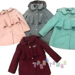 Пальто детское для девочки, с брошью