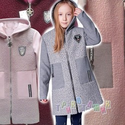 Пальто детское для девочки, комбинированное
