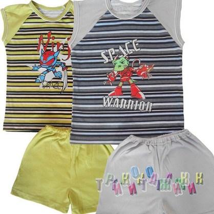 К-т для мальчиков Безрукавка + шорты с рисунком кулир комбинированный