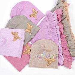 Комплект детский, шапка и косынка, с бабочкой