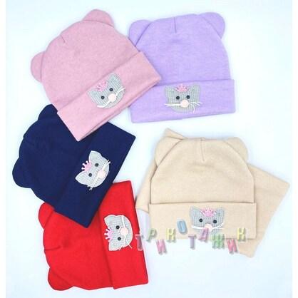Комплект детский, шапка и хомут, Котёнок