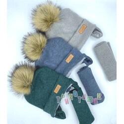 Комплект детский, шапка на завязках и хомут