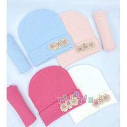 Комплект детский, шапка и хомут, с цветами