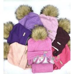 Комплект для девочки, шапка на завязках и хомут