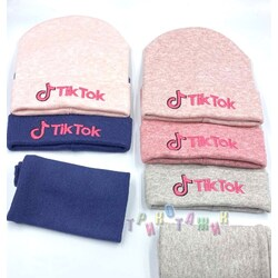 Комплект зимний для девочки, шапка и хомут, Тик-Ток