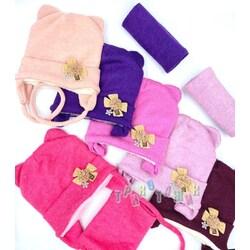 Комплект для девочки, шапка на завязках и хомут, Бантик