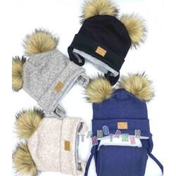 Комплект детский с помпонами, шапка на завязках и хомут