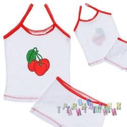 Комплект белья для девочки м.0221 (топ, шортики) белый кулир