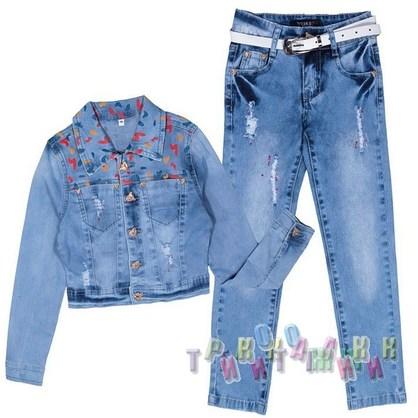 Джинсовый костюм для девочки 041 (Турция)